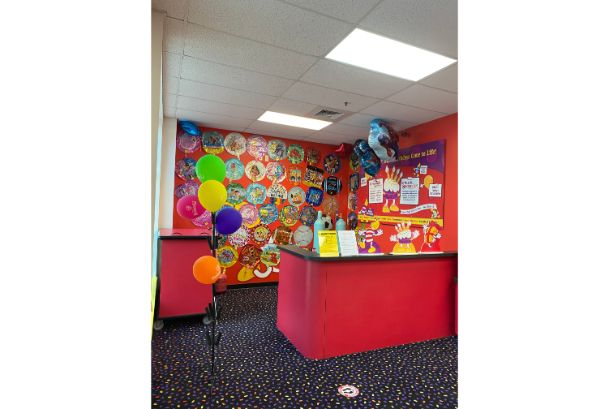 balloons front desk reception matthews
