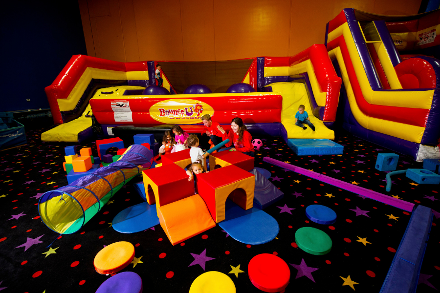 Kids and parents at BounceU 100% private playdate