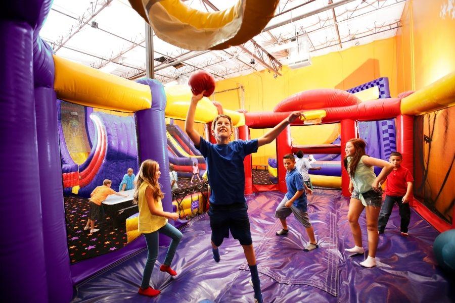 Boy and friends at BounceU jumping and having Screen free active fun