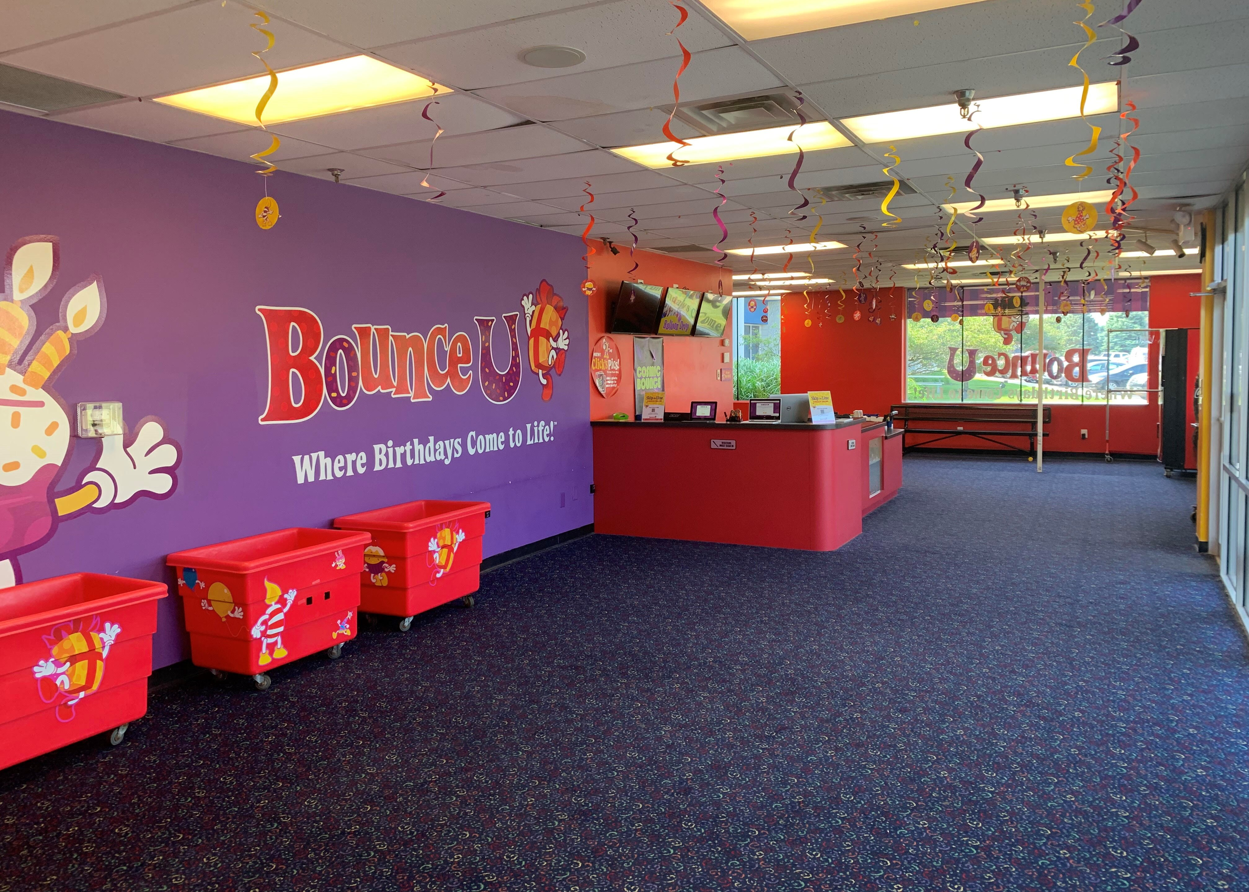 BounceU lobby of a kid's birthday party place.