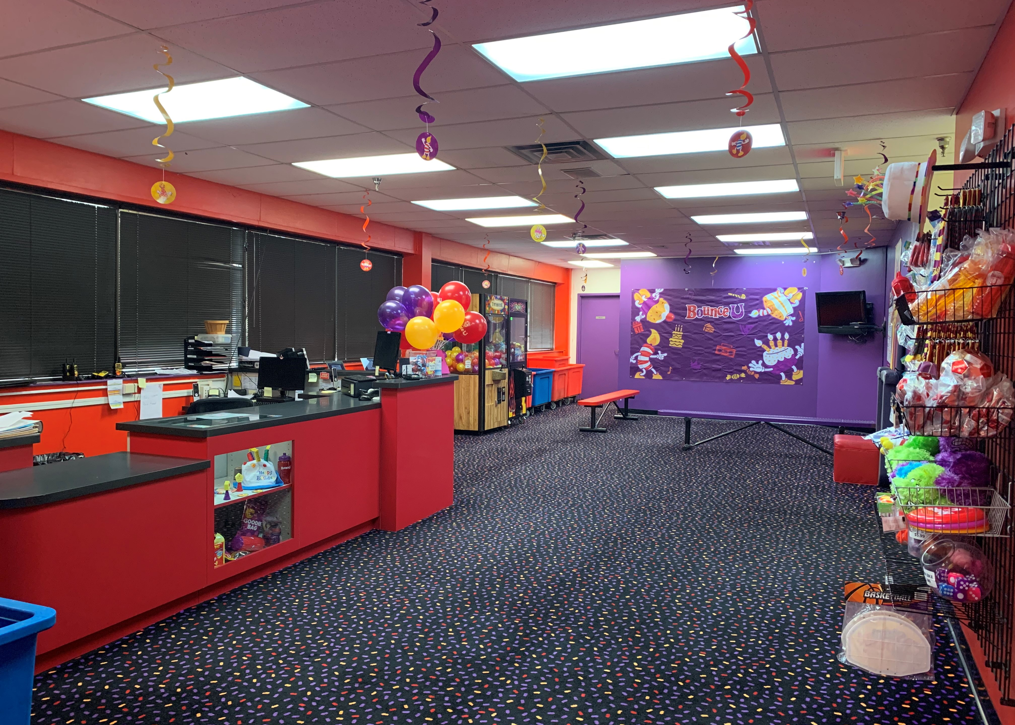BounceU the lobby of a kid's birthday party place.